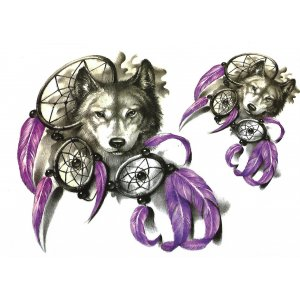 Temporary Tattoo DREAMING WOLF