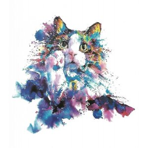 Temporary Tattoo COLORFUL CAT