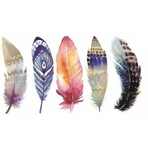 Temporary Tattoo COLORFUL FEATHERS