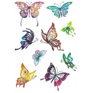 Temporary Tattoo COLORFUL BUTTERFLIES